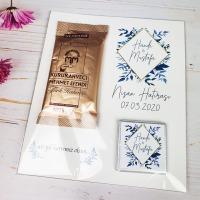 Mavi Çiçekli Nişan Hatırası Türk Kahvesi
